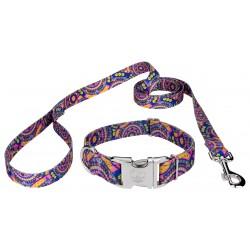 Premium Blue Boho Mandala Reflective Dog Collar & Leash