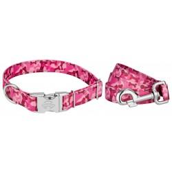 Premium Pink Bone Camo Reflective Dog Collar & Leash