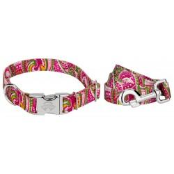 Premium Pink Paisley Reflective Dog Collar & Leash