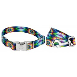 Premium Tie Dye Flowers Reflective Dog Collar & Leash