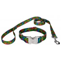 Premium Tie Dye Stripes Reflective Dog Collar & Leash
