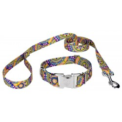 Premium Yellow Boho Mandala Reflective Dog Collar & Leash