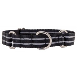 Black Reflective Polyester Martingale Dog Collar