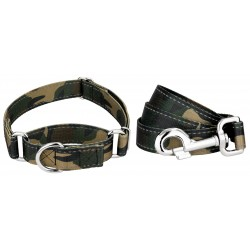 Woodland Camo Reflective Martingale Dog Collar & Leash