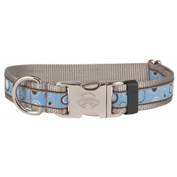 Premium Blue & Brown Orbs Woven Ribbon Dog Collar Limited Edition