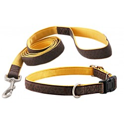 Brown Faux Leather Dog Collar & Matching Leash Closeout - Large
