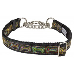 Stitched Bones Woven Ribbon on Black Half Check Dog Collar Limited Edition
