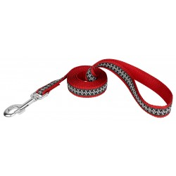 Black and White Pinwheels Woven Ribbon on Red  Dog Leash Limited Edition