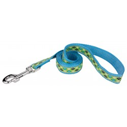 Lime Green and Blue Argyle Ribbon Dog Leash Limited Edition