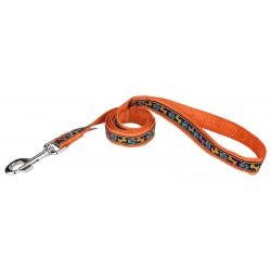 Plaid Bones And Paws Ribbon on Orange Dog Leash Limited Edition