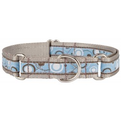 Blue and Brown Orbs Woven Ribbon Martingale Dog Collar Limited Edition