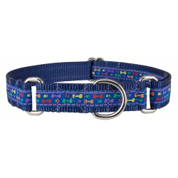 Rainbow Paws and Bones Woven Ribbon on Navy Blue Martingale Dog Collar Limited Edition