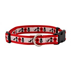 Hydrant Line Up Jacquard Ribbon Dog Collar Closeout