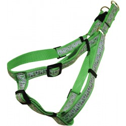 Green and Pink Dots Jacquard Ribbon Step-In Harness Closeout