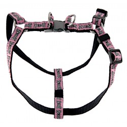 Pink Zebra Bone Jacquard Ribbon Step-In Harness - Closeout - Extra Small