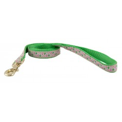 Green and Pink Dots Jacquard Ribbon Dog Leash - Closeout - 4X3.4