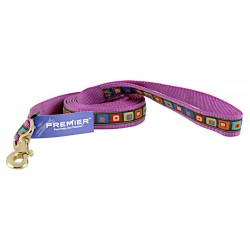 Premier Purple 3D Blocks Ribbon Leash - Closeout - 6X1