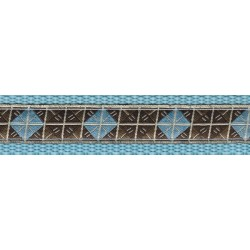 Blue & Brown Diamond Woven Ribbon on Ocean Blue Dog Leash Limited Edition