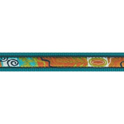 Fall Frenzy Woven Ribbon on Teal Dog Leash Limited Edition