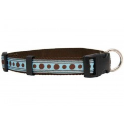 Deluxe Turquoise with Brown Polka Dots Ribbon Dog Collar
