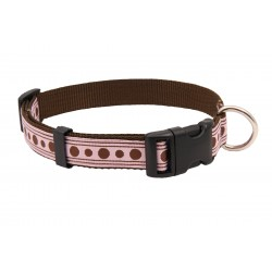 Deluxe Pink with Brown Polka Dots Ribbon Dog Collar
