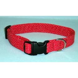 Deluxe Red Polka Dots Designer Dog Collar