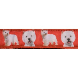 West Highland Terrier on Black Double Sided Dog Leash