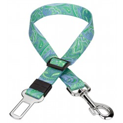 Green Paisley Car Safety Dog Belt