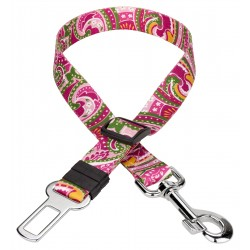 Pink Paisley Car Safety Dog Belt