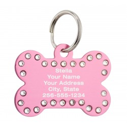 Pet ID Tags Bone with Swarovski Crystals