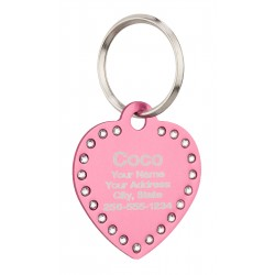 Pet ID Tags Heart with Swarovski Crystals