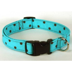 Deluxe Turquoise & Brown Polka Dot Designer Dog Collar