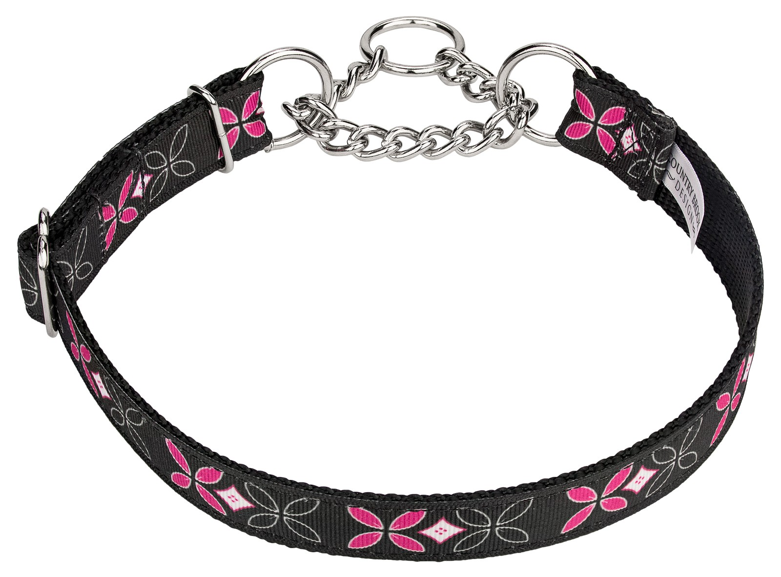 Buy Black And Pink Flowers Half Check Ribbon Dog Collar Online