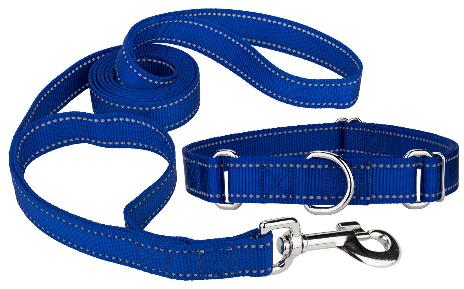 royal blue reflective nylon martingale dog collar u0026 double handle leash