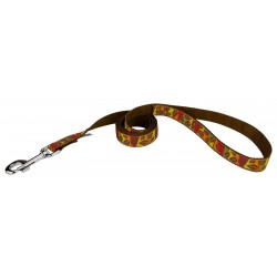 Fall Leaves on Brown Ribbon Dog Leash