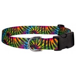 Tie Dye Stripes Feather Weight Deluxe Dog Collar