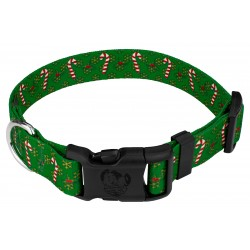 Deluxe Candy Cane Christmas Dog Collar