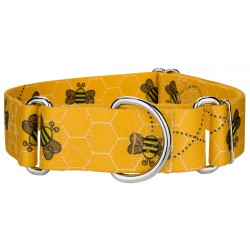 1 1/2 Inch Busy Bee Martingale Dog Collar