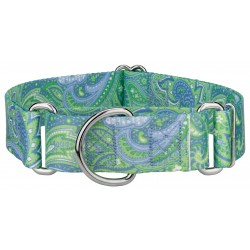 1 1/2 Inch Green Paisley Martingale Dog Collar