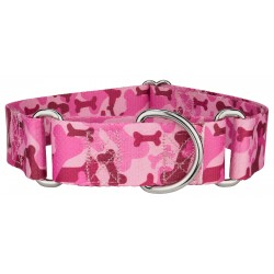 1 1/2 Inch Pink Bone Camo Martingale Dog Collar