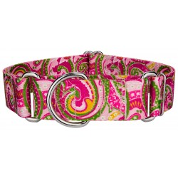 1 1/2 Inch Pink Paisley Martingale Dog Collar
