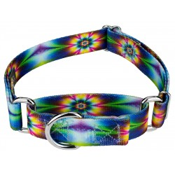 Tie Dye Flowers Martingale Dog Collar