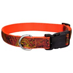 Deluxe Fire Paisley Ribbon Dog Collar