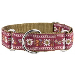 1 1/2 Inch Red Queen Of The Alps Woven Ribbon Martingale Collar