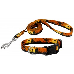 All Hallow's Eve Deluxe Dog Collar & Leash