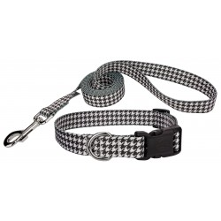 Deluxe Houndstooth Dog Collar & Leash