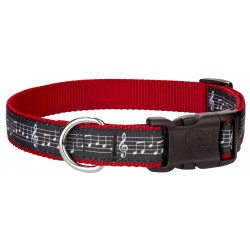 Deluxe Sheet Music on Red Ribbon Dog Collar