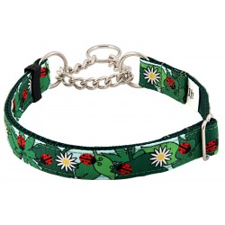 Ladybugs Picnic Grosgrain Ribbon Half Check Dog Collar