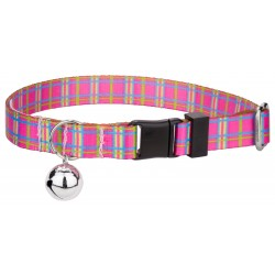 Bubblegum Pink Plaid Cat Collar
