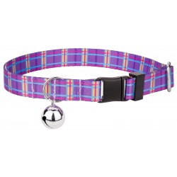Grape Plaid Cat Collar